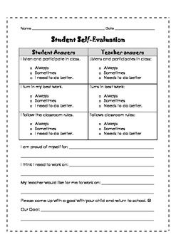 Parent Teacher Conferences Self Evaluation. Student Self  EvaluationEvaluation FormStudent ...