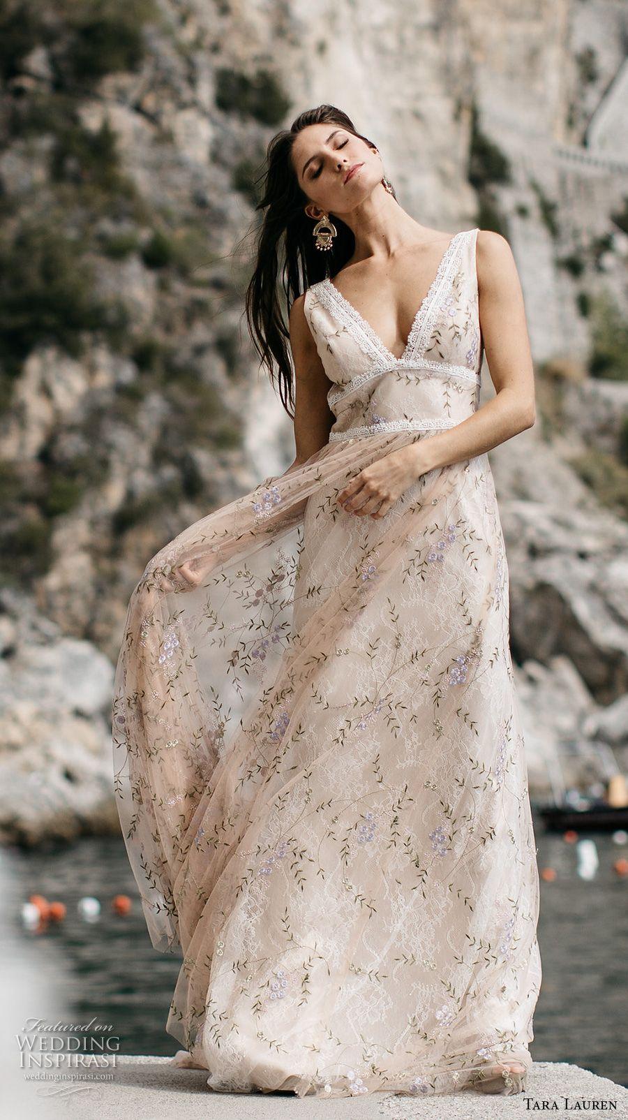 tara lauren spring 2017 bridal sleeveless deep v neck full embroidered elegant romantic beautiful ivory color a line wedding dress low back chapel train (cecile) mv