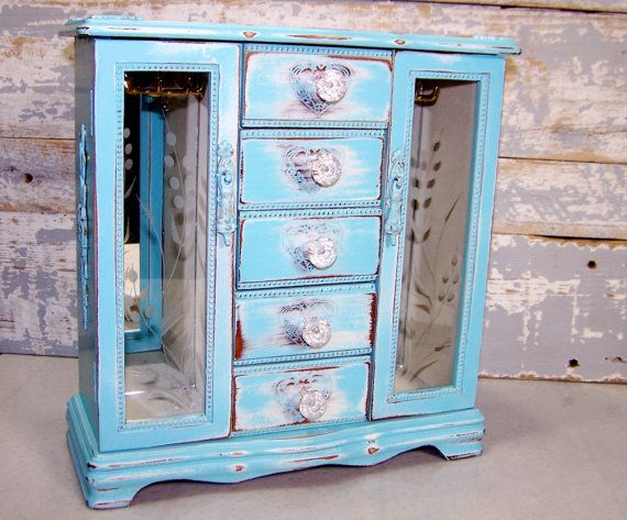 Jewelry Box Large Upcycled Shabby Chic Blue White Tall Jewelry