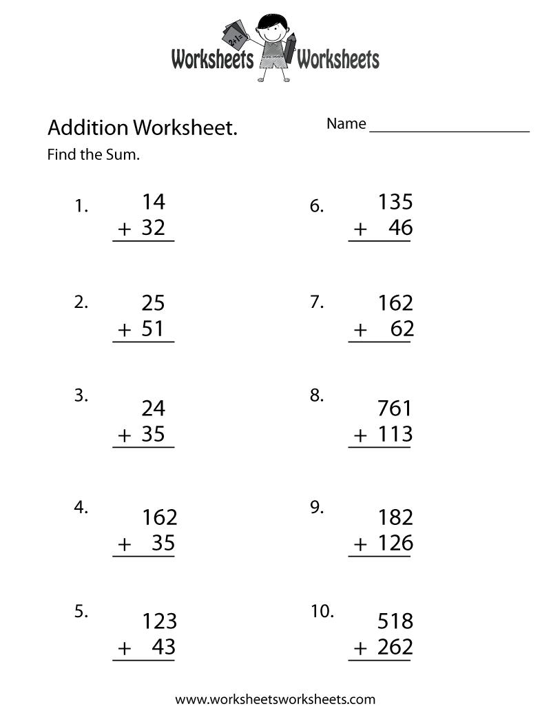Math Addition Worksheet Free Printable Educational Worksheet Math Worksheets Math Addition Worksheets Addition Worksheets