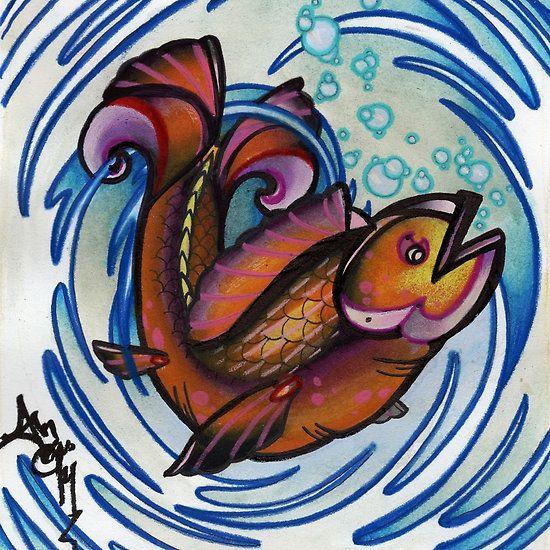 happy fish tattoo art