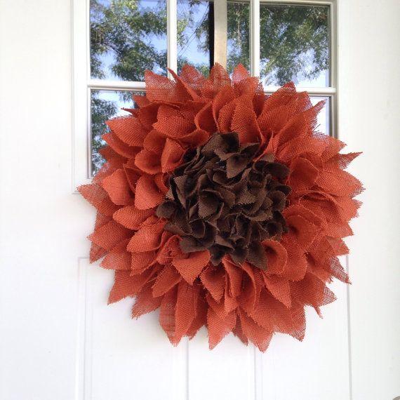 NEW Burlap Sunflower Wreath 24 Orange by BlueKoalaCrafts on Etsy