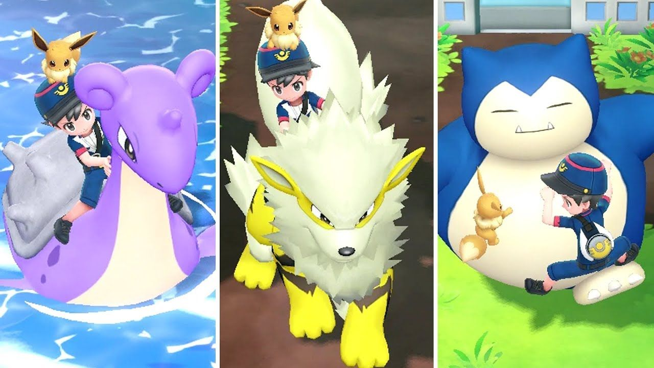 Pokémon Let S Go Pikachu Eevee All Rideable Pokémon Compilation Of All Riding Pokémon In Pokémon Let S Go Pikachu Eevee On The Nint Pokemon Eevee Pikachu