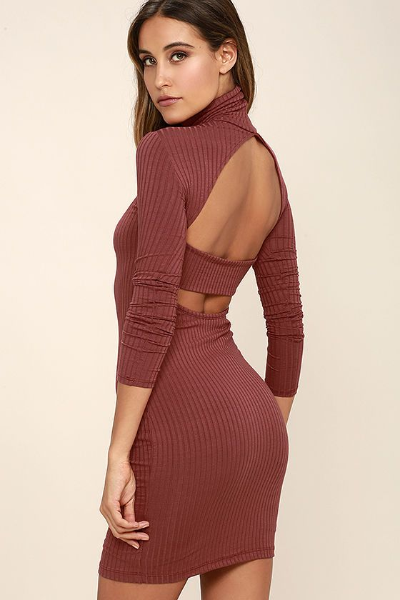 62be4947a811 As soon as the Party Goer Rusty Rose Long Sleeve Bodycon Dress enters the  room,