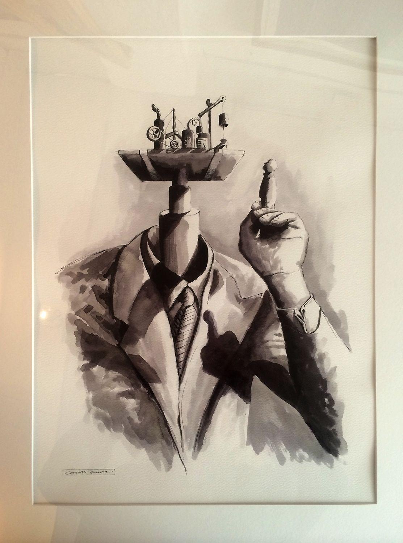 'Introspection' by artist Christoff Barnard. Ink on paper.