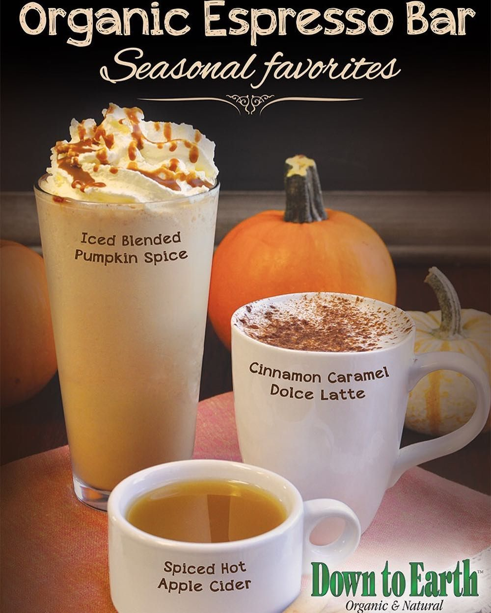 Don't Forget Our Fall Organic Espresso Drinks Are Only