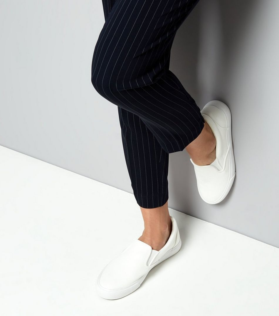 White Snakeskin Textured Slip On Trainers  | New Look