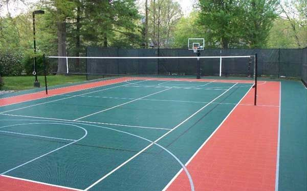Backyard sport courts backyard sports basketball court for How to build a basketball court