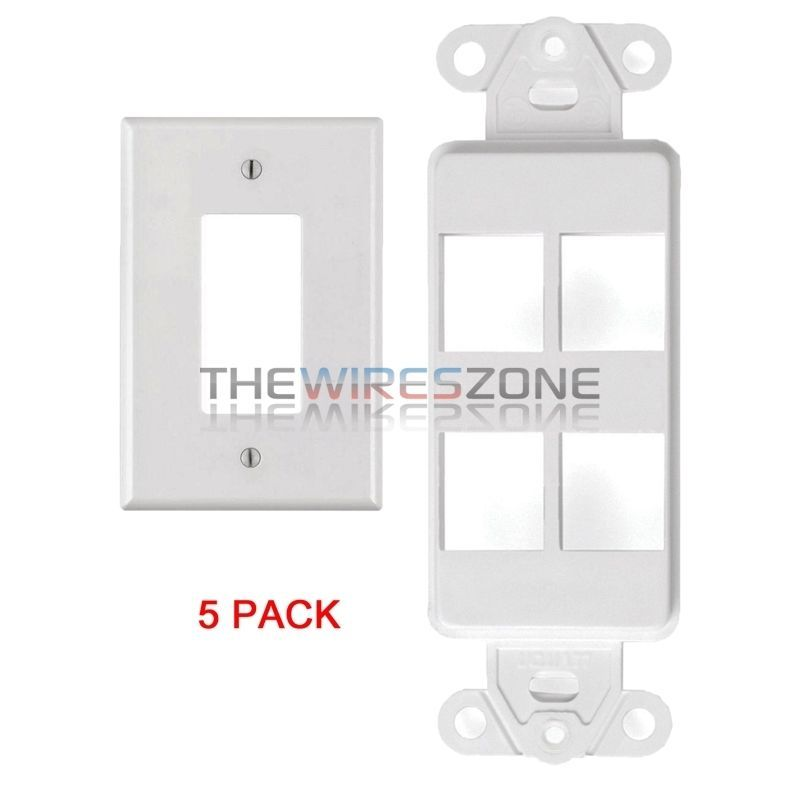 White 4 Port Decora Keystone Snap In Jack Modular Wall Insert Cover Plate 5 Pk 741725934323 Ebay Plates On Wall Modular Walls Wall