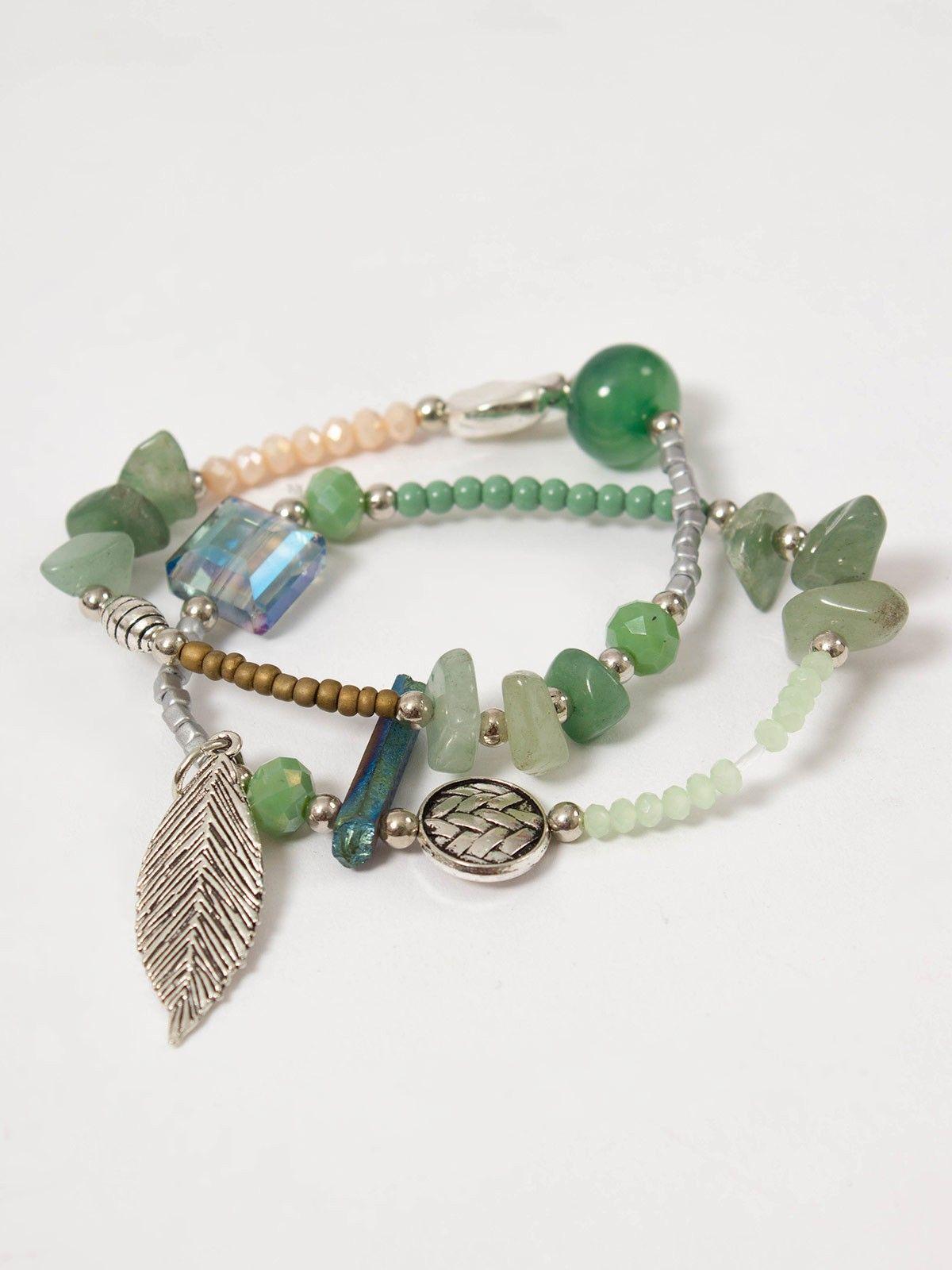 751a93a3a0ff Pulsera Jane Verde - Conjunto de dos pulsera elástica compuesta por piezas  en color verde