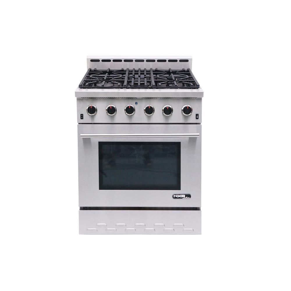 NXR Entree 30 in. 4.5 cu. ft. Professional Style Gas Range with Convection Oven in Stainless Steel (Silver)