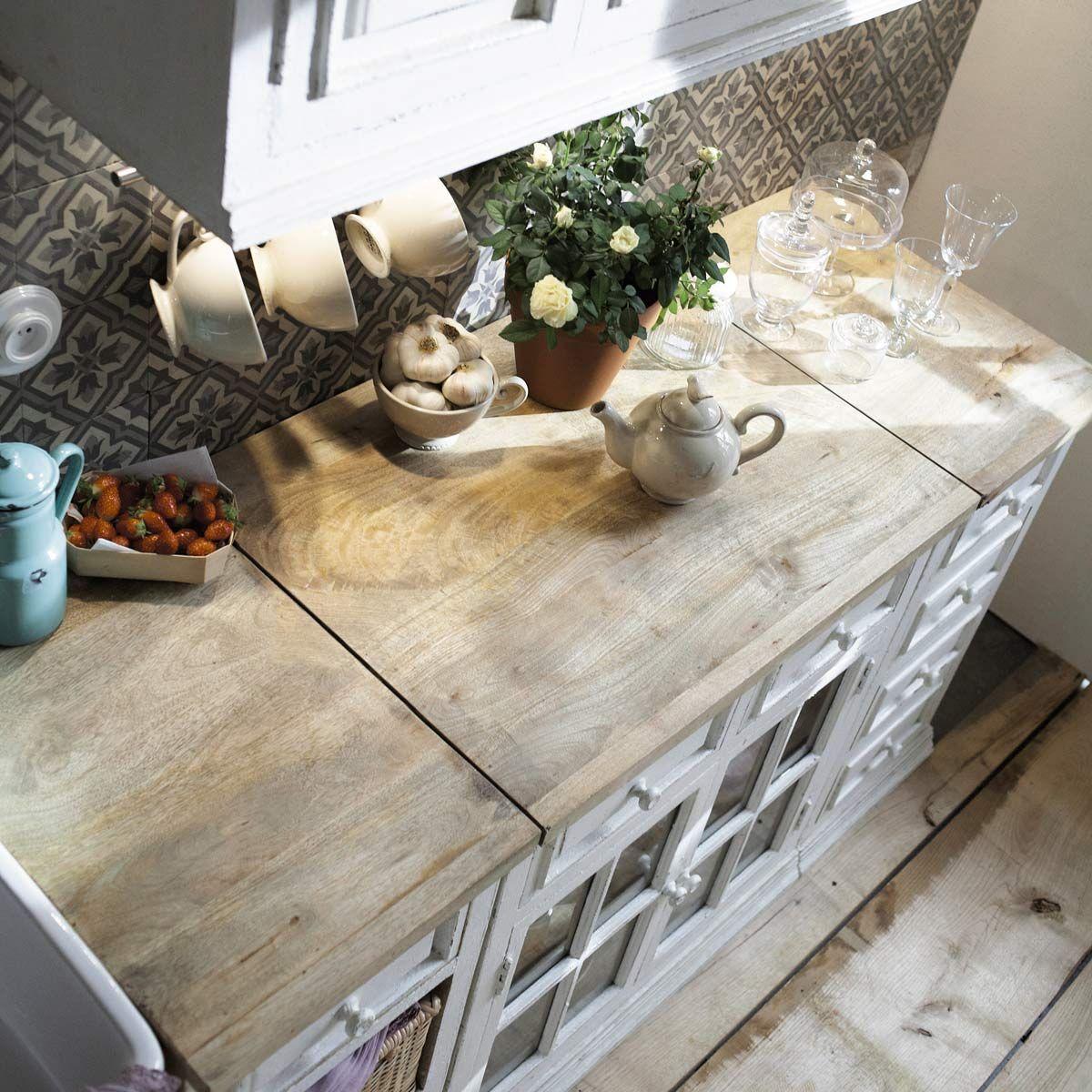 Küchenunterschrank aus Mangoholz mit Spüle, elfenbein | Elfenbein ...