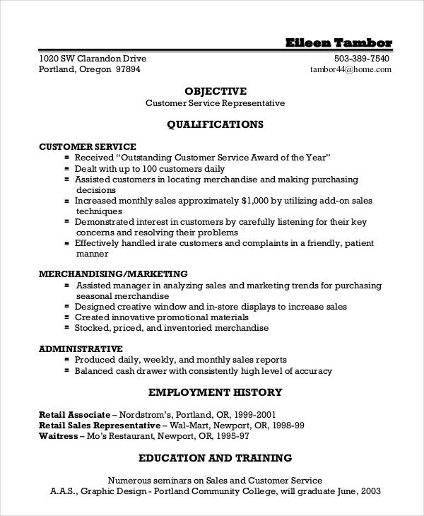 Resume Objectives For Customer Service Example Resume Sample For Customer Service Position Nice Skills
