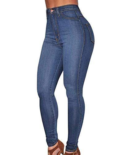 9097c76da0 HaiDean Pantalones De Mezclilla De Cintura Alta Las Mujeres Estiramiento  Modernas Casual Skinny Jeans Lápiz Pantalones
