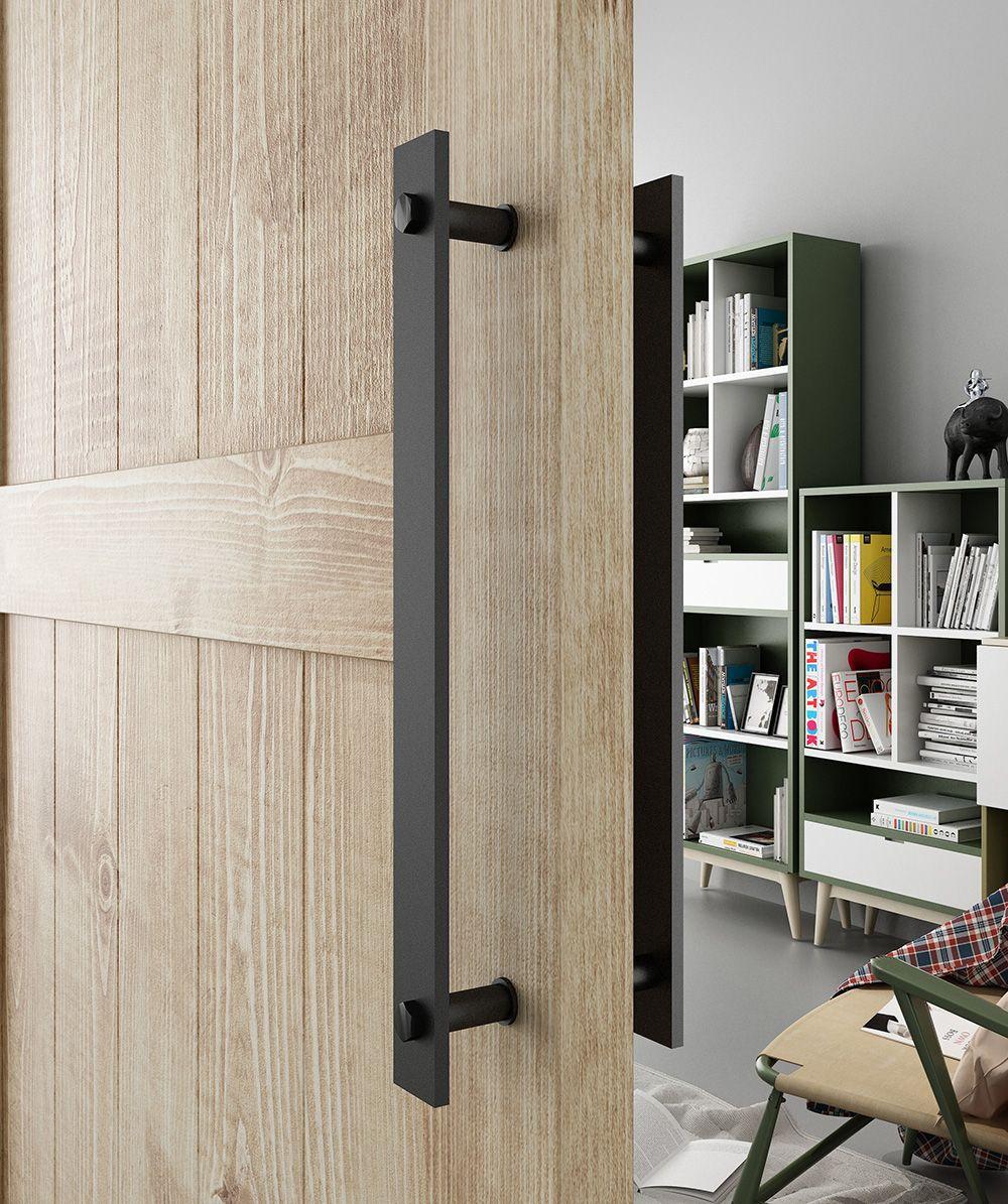 12.61€ |DIYHD manija de puerta de granero de acero negro rús…