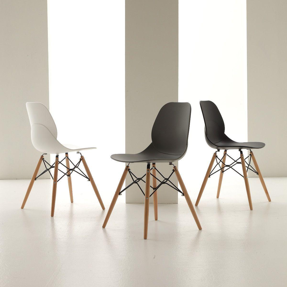 Sedie In Legno Design Moderno.Sedia Design Moderno Elenora Faggio E Polipropilene Elenora