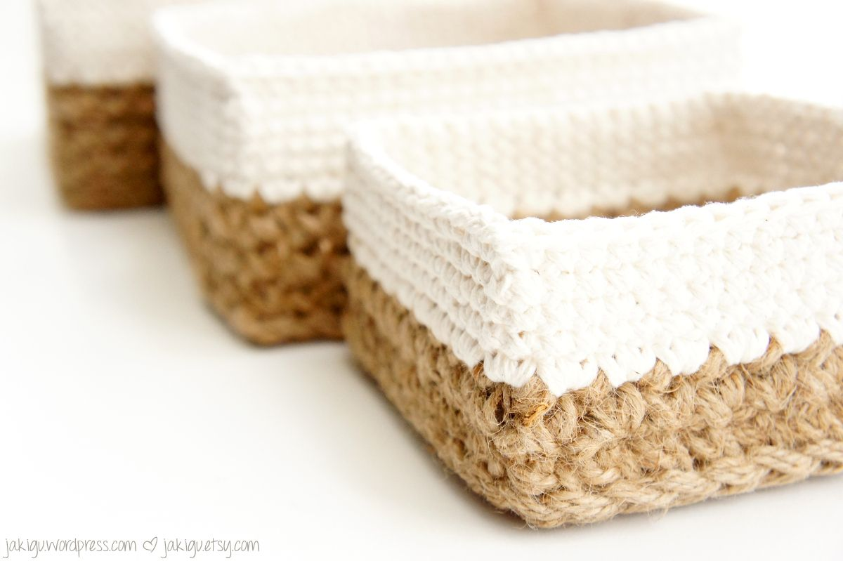 crochet pattern: square jute and cotton stacking baskets | Cesto y ...