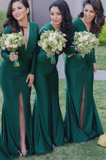 278b779e6585 Sexy Mermaid Long Sleeves V-Neck Pleats Front Split Bridesmaid Dresses  #angrila #bridesmaids #weddings #elegance #green