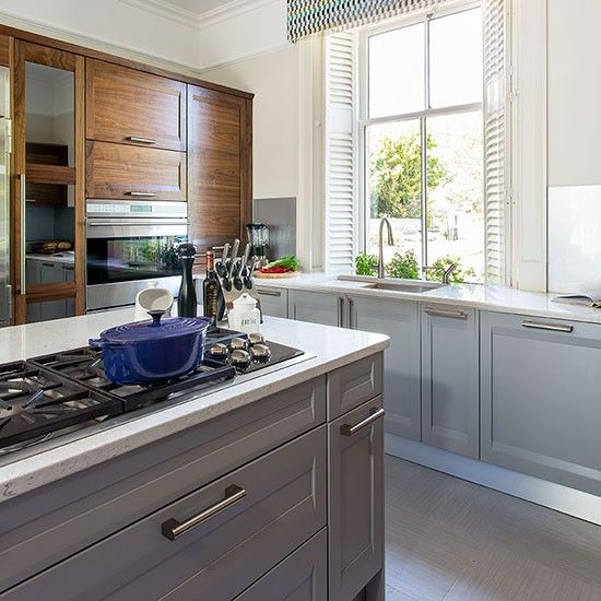 Pale Grey Kitchen With Painted Island