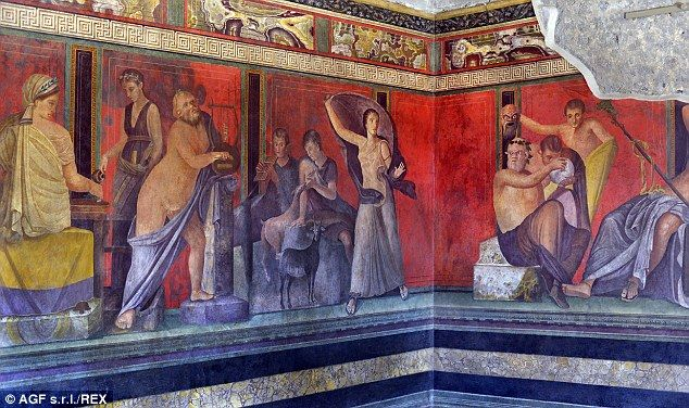 Preserved paintings: The Villa dei Misteri features some of the best-preserved frescoes in the remains of Pompeii and is classed as a Unesco World Heritage Site