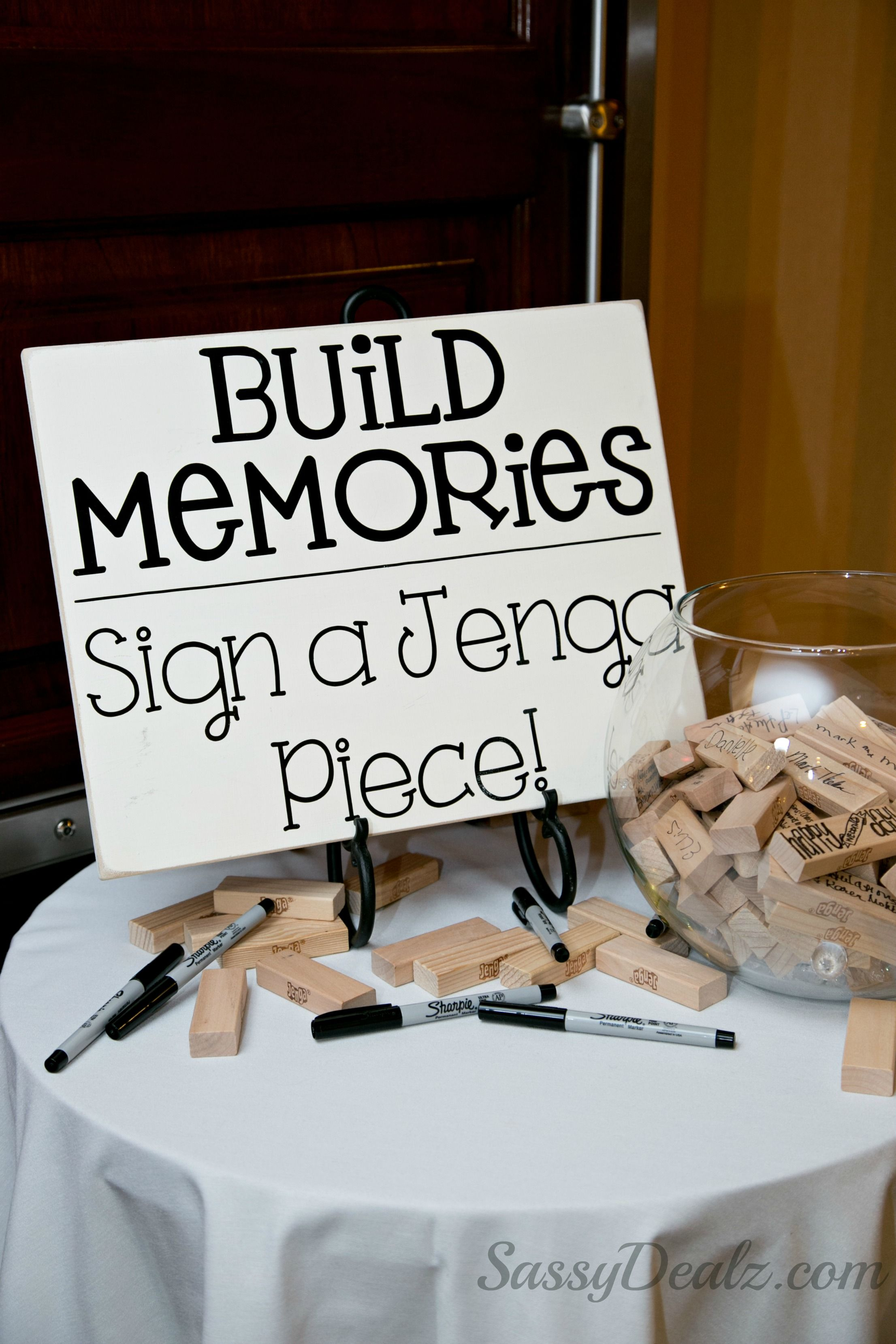 diy jenga guestbook wedding idea the sign build memories sign a jenga piece