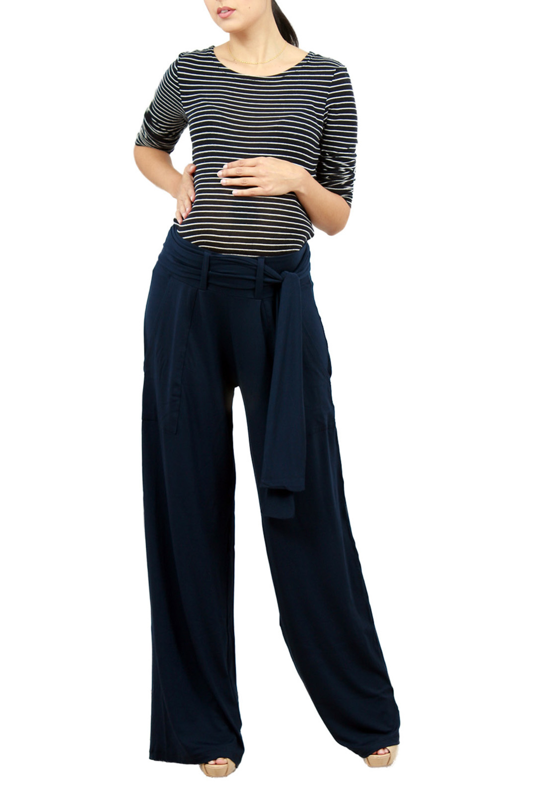 bad2fe1df1f734 Calça Gestante Pantalona Tribo Mary Azul-Marinho in 2019 | Products ...