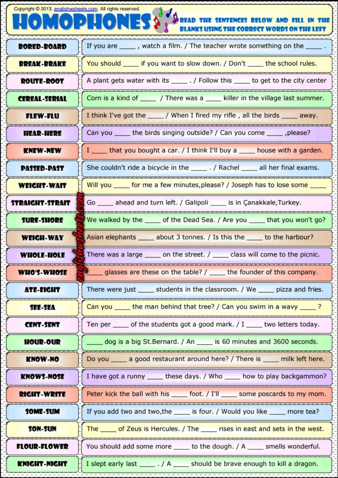 Homophones Phonetics Esl Exercises Worksheet