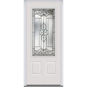 Mmi Door 36 In X 80 In Cadence Right Hand 3 4 Lite Decorative 2 Panel Classic Painted Fiberglass Smooth Prehung Front Door Z006185r The Home Depot Mmi Door Front Door Steel Doors Exterior