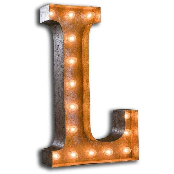 Vintage Marquee Lights Letter L By ($229) ❤ liked on Polyvore