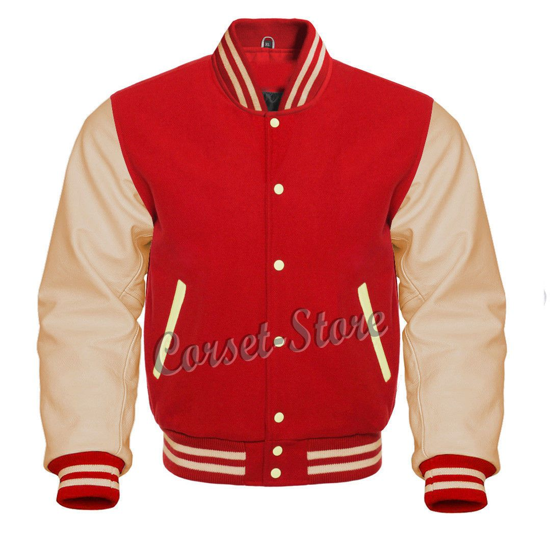 Men/'s Sky Blue Wool  And White Cowhide  Leather  Varsity Jacket Small To 7 X