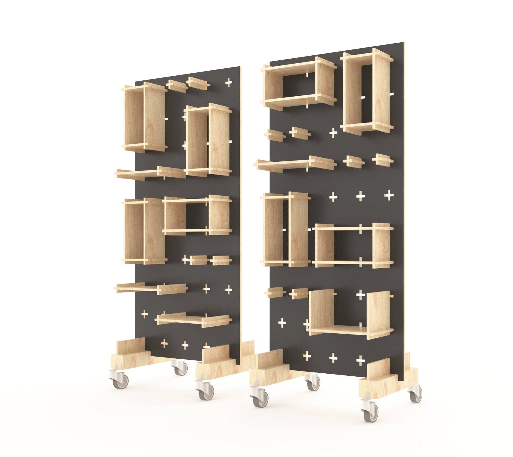 Display Stand, Pegboard, Plywood Wall System Consists Of Functional Wall
