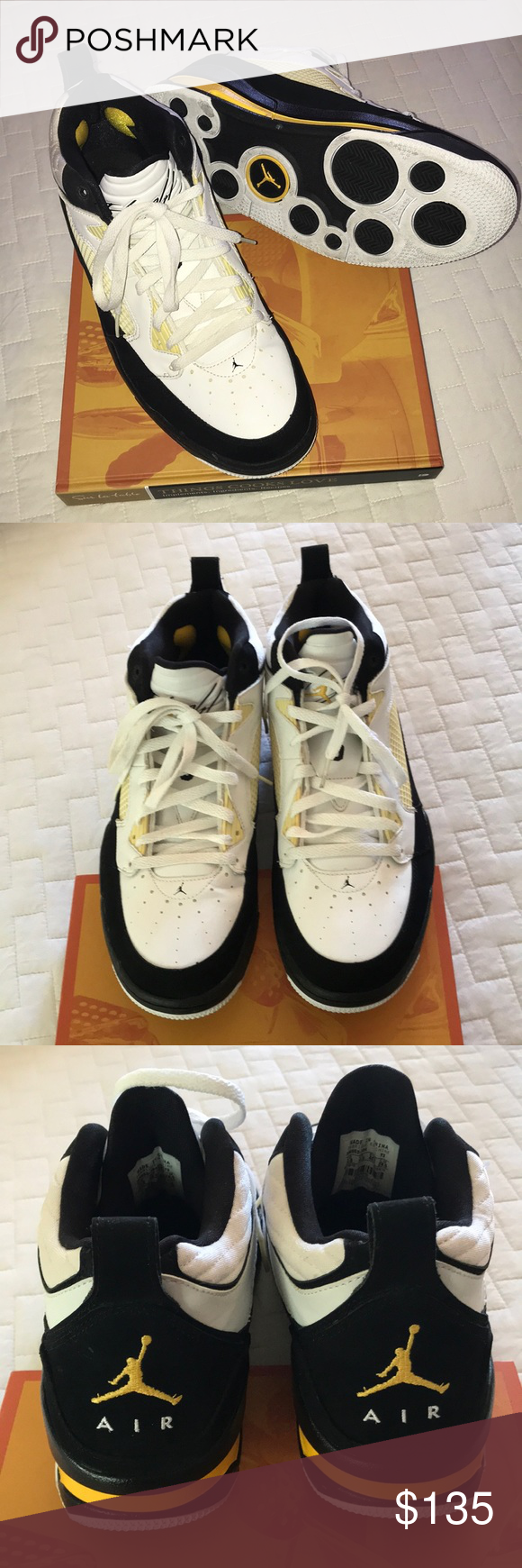 2e8d80f7b5b Air Jordan's Flight 9 Shoes Air Jordan Flight 9 Retro white/Black Varsity  Maize Black & white with yellow accents size US 11.5 my sons shoes cleaning  out ...