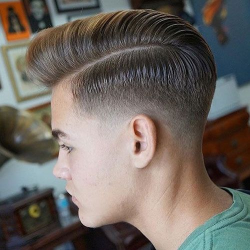High Quality Low Taper Fade + Part + Comb Over Pomp