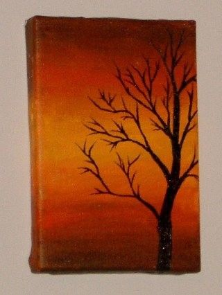 Tree Silhouette During Sunset Original Acrylic Painting On Canvas