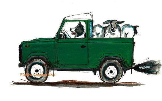Border Collie And Sheep Land Rover Defender Art Print