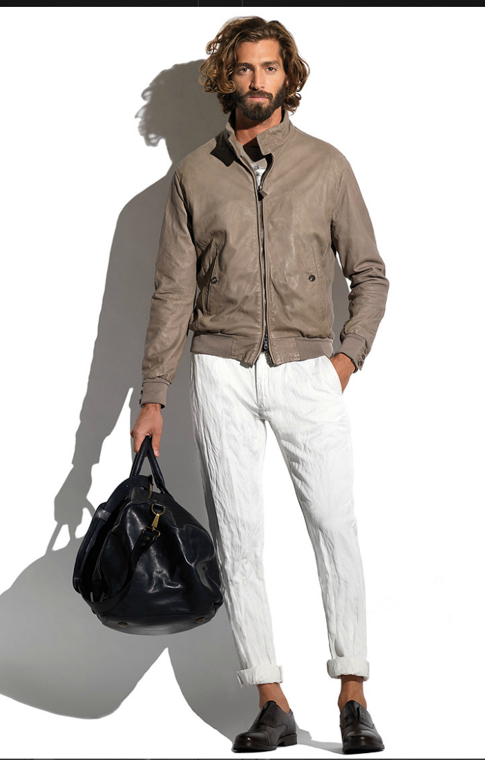 Taupe Leather Jacket, & White Linen Pants, by Jacob Cohen. Men's Spring Summer Fashion.
