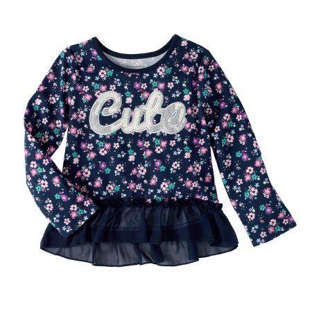 Garanimals Baby Toddler Girls' Long Sleeve Print Peplum Tee, Size: 25 Months, Blue