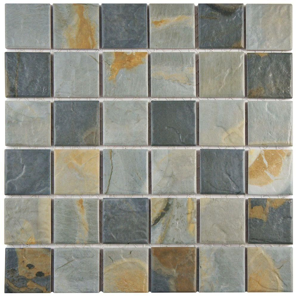 Merola tile ardesia slate 12 in x 12 in x 7 mm porcelain mosaic down stairs bathroom merola tile ardesia slate 12 in x 12 in x 6 mm porcelain floor and wall mosaic tile wtcardsl the home depot dailygadgetfo Gallery