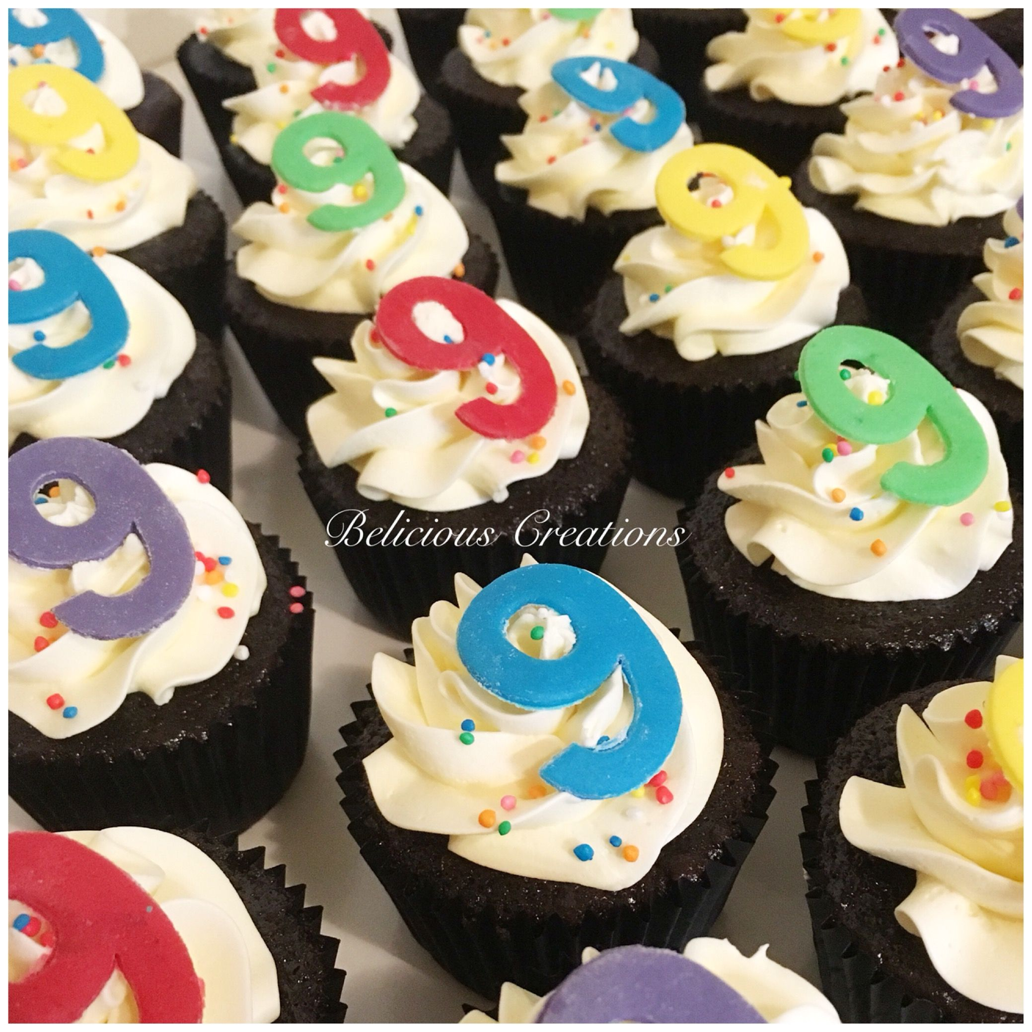 Sprinkled Number 9 Cupcakes To Go With The Hand Drawn Colourful