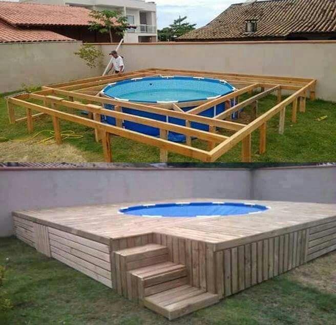 Pin de pola en jard n pinterest piscinas jard n y for Ideas para piscinas plasticas