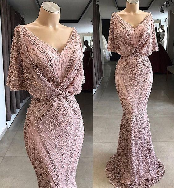 Gorgeous Floor Length Prom Dress Metallic Lace Special Occasion Gown with Flutter Sleeves and Beaded