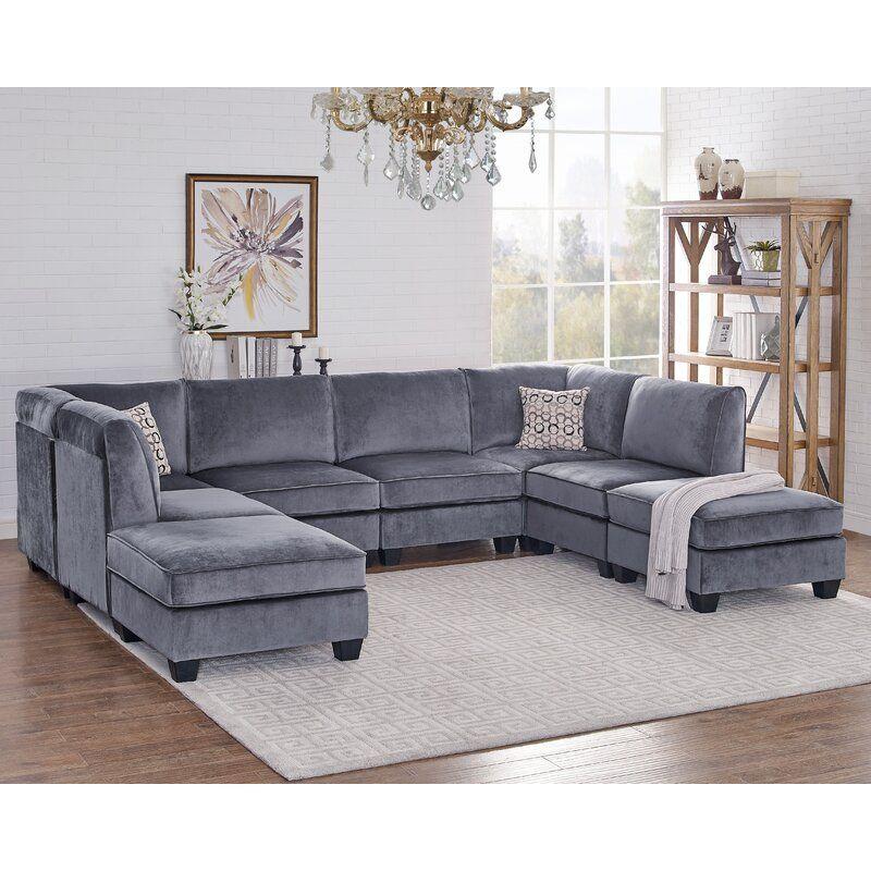 Latitude Run Abbigayle 120 Symmetrical Modular Sectional With Ottoman Wayfair In 2020 Modular Sectional Sofa Velvet Sofa Set Sofa Set