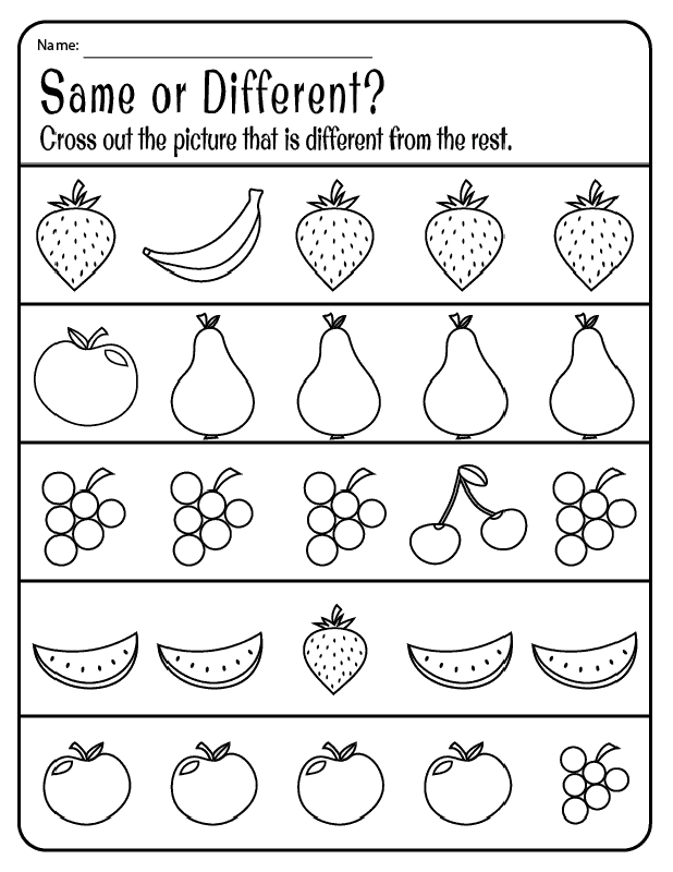Same And Different Worksheets Kids Learning Activity Free Preschool Printables Preschool Worksheets Printable Preschool Worksheets