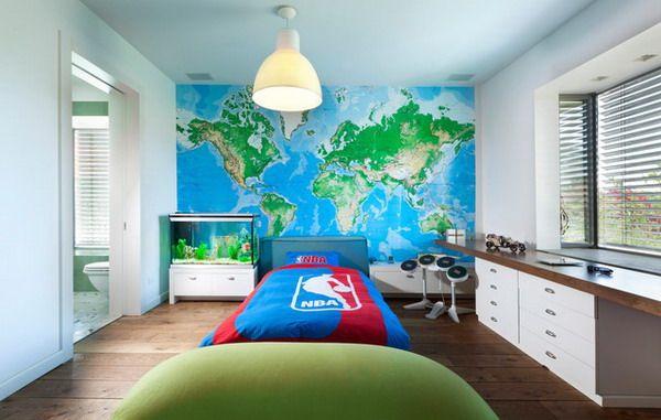 . Teenage Boys Room Ideas with World Map Wall Stickers   Teen Boy Room