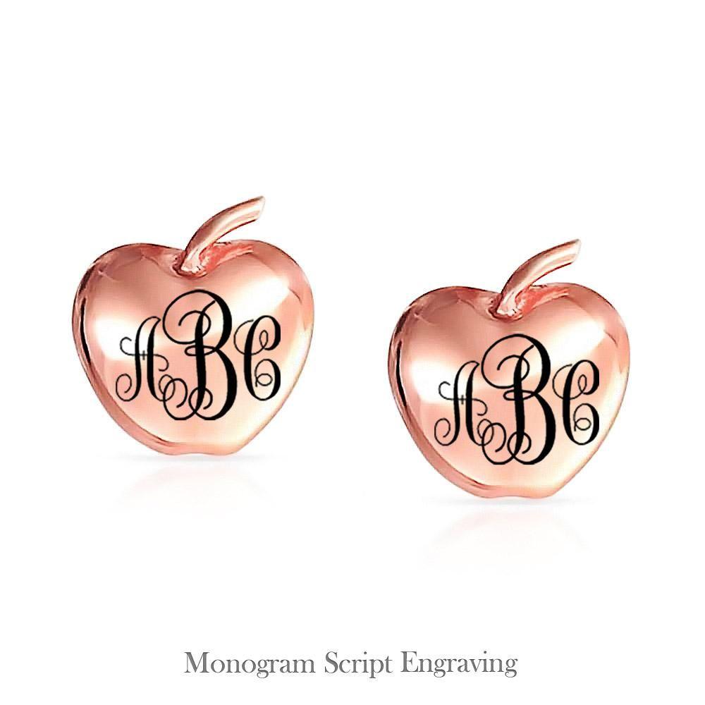 Photo of Fruit Teacher Apple Of My Eye Stud Earrings Rose Gold Plated Sterling