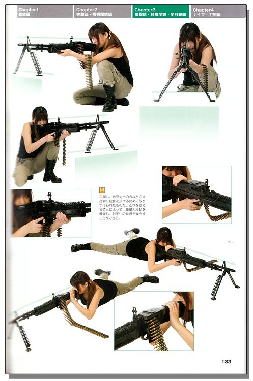 Drawing! Gun & Knife Combat Poses Style Graphics Reference