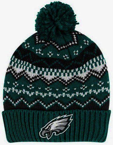 d3e62f3a7a6baa PHILADELPHIA EAGLES Alpine Pom Cuffed Knit Beanie Hat Ski Cap by Reebok  SIZE: ADULT by