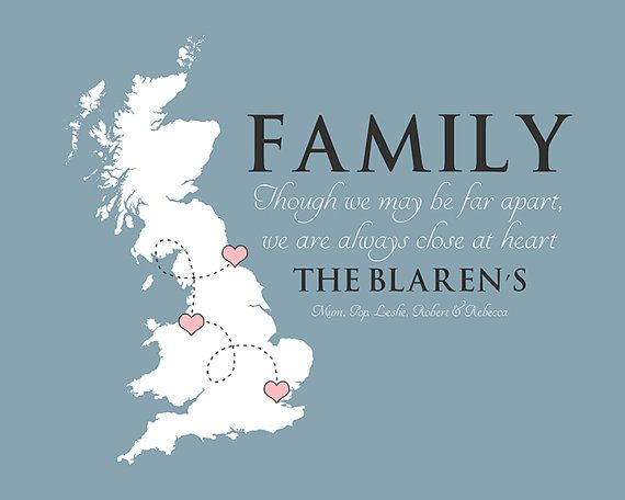 Family Quote Any Map Uk England Personalized Gift For Families