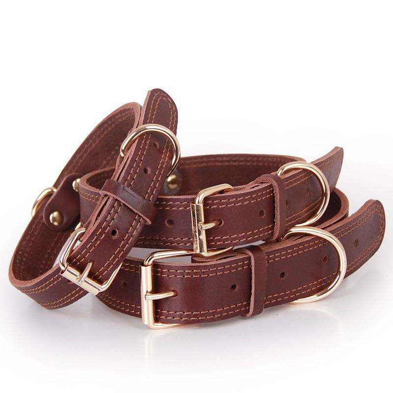 Wholesale Double D Ring Leather Dog Collar For Large Pet Dogs