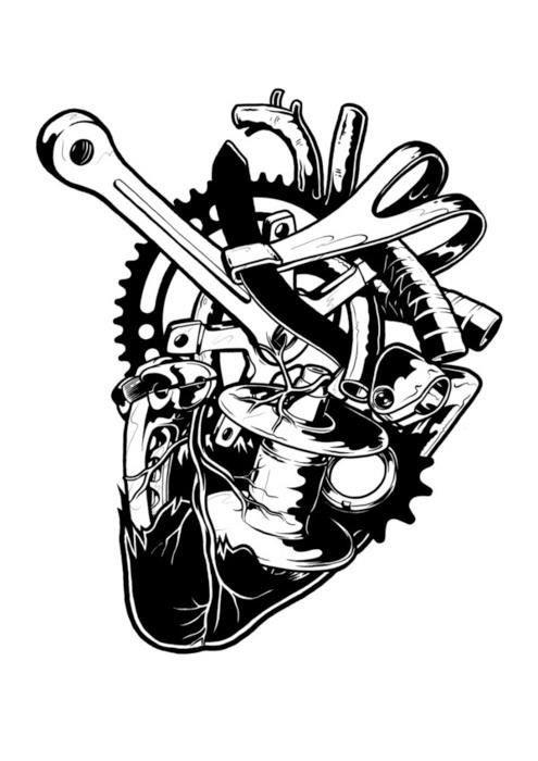 Bike Part Heart Tattoo